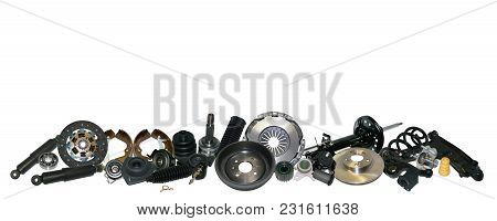 Spare Parts Car On The White Background Set. Many Auto Parts Are Located On The Edge Of The Image. O