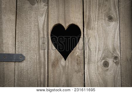Rural Wooden Toilet Wc, Heart On The Board