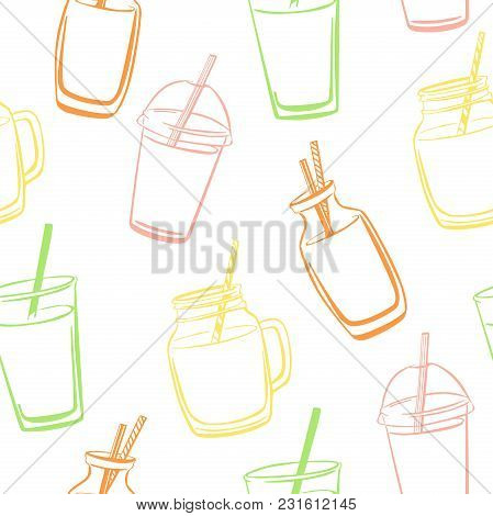 Bright Vector Seamless Pattern With Hand Drawn Smoothie And Juice Bottles, Glasses, Jars And Cups On