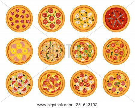 Pizza Vector Italian Food With Cheese And Tomato In Pizzeria Or Pizzahouse Illustration Set Of Baked
