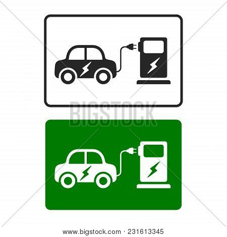 Electric Car Charging Station Road Sign Template With Set Of Icons. Vector.