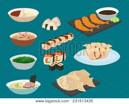 Japan Vector Food Traditional Meal Cooking Culture Sushi Roll And Seafood Lunch Japanese Asian Cuisi