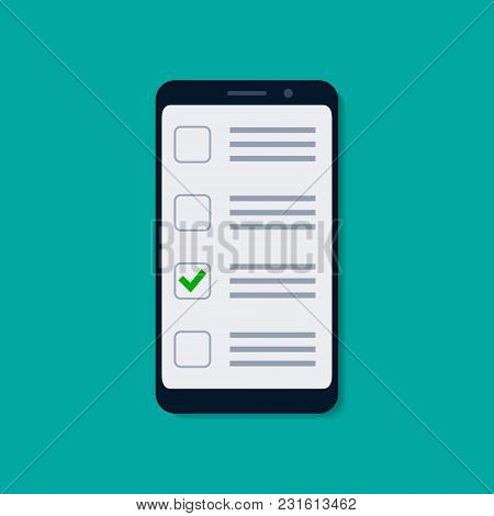 Checklist On The Mobile Phone Screen. Vector Isolated Illustration In Flat Style.