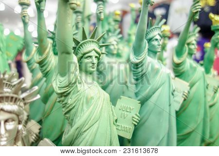 Fun Kitschy Statue Of Liberty Travel Toy Figurines At Manhattan New York City Souvenir Shop
