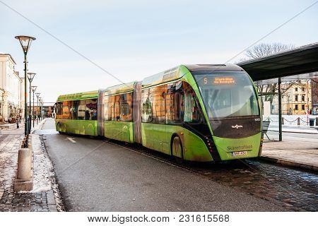Malmo, Sweden - 29 Dec 2014: Modern Double Articulated Bus Van Hool 324h Exequicity 24 Hybrid Operat