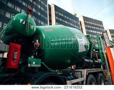 Strasbourg, France - Mar 5, 2018: Scania G410 Cement Mixer Truck At The Reconstruction Site Of The E