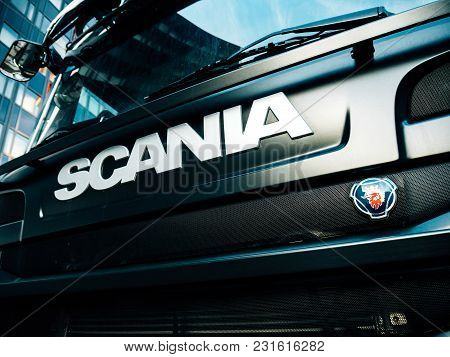 Strasbourg, France - Mar 5, 2018: Side View Of Scania Logotype Insignia Logo On The Front Part Of Th