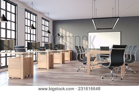 Modern Loft Style Office With Gray Wall 3d Render,the Rooms Have Wooden Floors And Gray Walls.furnis
