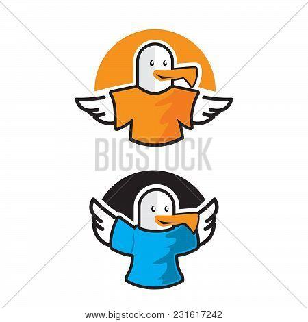 Bird Vector Logo Concept Using Shirt, Bird Logo, Animal Charity Foundation , Flying Bird Logo App,