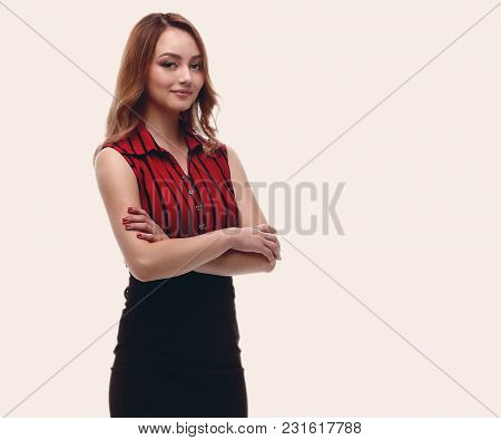 Beautiful young female model is standing.