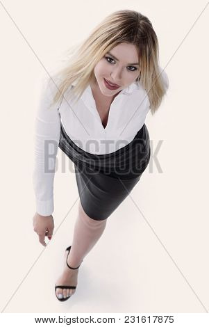 view from the top .serious modern young business woman goes