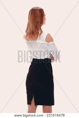 back view of beautiful business woman.