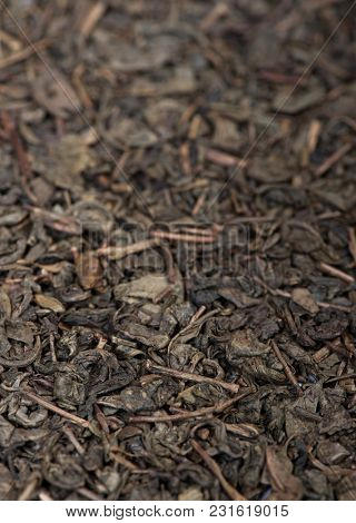 Dried tea leaves close up texture