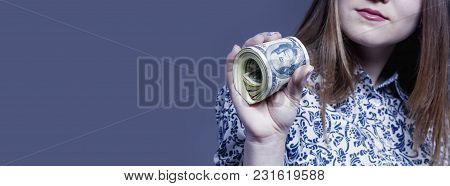 Beautiful Success Business Woman Holding Dollar Currency Banknotes. (money, Wealth, Work, Salary Con