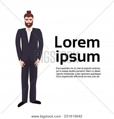 Bearded Business Man Hipster Wearing Suit Over Background With Copy Space Flat Vector Illustration