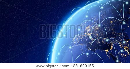 Planet Earth, Internet Concept Of Global Business, Connection Symbols Communication Lines, Elements