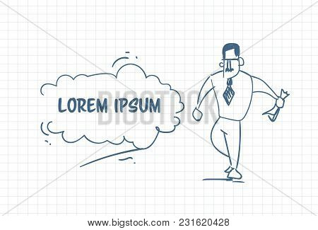Doodle Business Man Hand Drawn Businessman In Suit Over Background With Copy Space Vector Illustrati