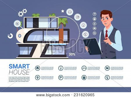 Man Holding Digital Tablet With Smart Home Management System Interface Conceptflat Vector Illustrati