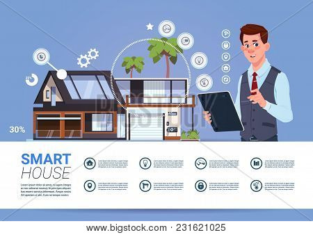 Smart Home Automation And Control Technology Concept With Man Holding Digital Tablet Flat Vector Ill