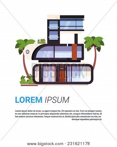 Modern Cottage House Luxury Real Estate Home Design Isolated On Background With Copy Space Flat Vect