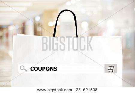 Word Www. On Search Bar Over Shopping Bag And Blur Store Background, Online Shopping Background, Bus