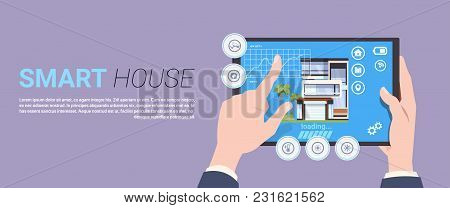 Smart Home Technology Banner With Hands Holding Digital Tablet Device With Control System Over Backg