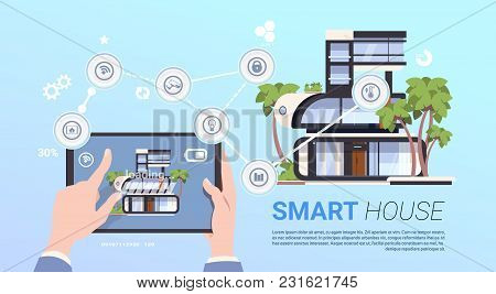 Smart Home Control Technology Concept With Hands Holding Digital Tablet Flat Vector Illustration