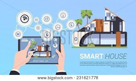 Hand Holding Digital Tablet With Smart Home Management System Interface Concept Flat Vector Illustra