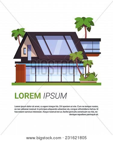 Luxury House Real Estate Sign Cottage Building Design Isolated On Template Background Flat Vector Il