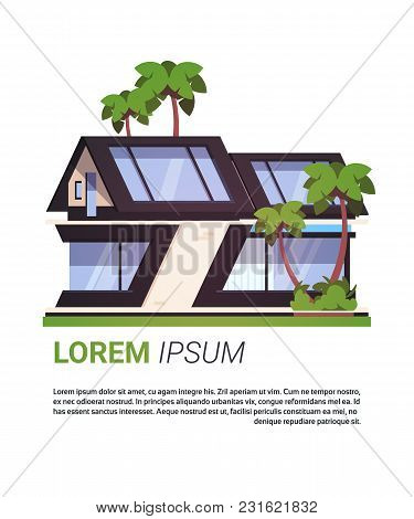 Luxury House Real Estate Sign Cottage Building Design Isolated On Background With Copy Space Flat Ve