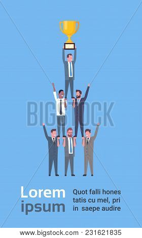 Team Of Successful Business Men Holding Golden Cup, Businessmen Success And Teamwork Concept Flat Ve