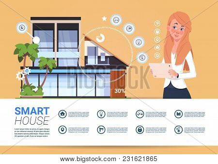 Smart Home Automation And Control Technology Concept With Woman Holding Digital Tablet Flat Vector I