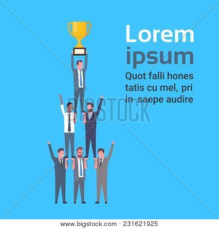 Group Of Successful Businessmen Holding Golden Cup, Business Men Success Concept Flat Vector Illustr