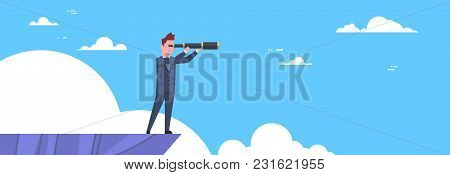 Businessman With Telescope Looking For Success, Opportunities, Business From Mountain Top, Vision Co