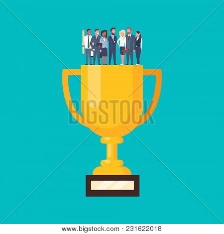Group Of Successful Business People Standing At Golden Cup, Businesspeople Success Team Concept Flat