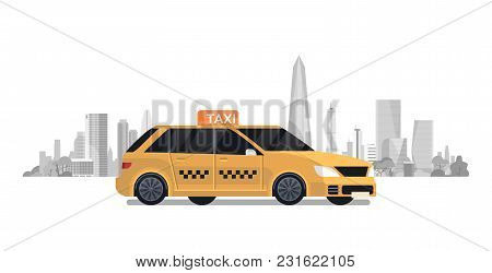 Yellow Taxi Car Cab Over Silhouette City Background Flat Vector Illustration