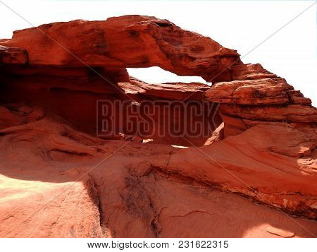 Red Rocks Formed To Shape A Window On A White Background Or Png File.