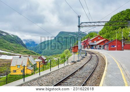 Myrdal Station, Norwegian Flam Railway Mountain train a tourist travel destination Europe, Bergen Line, Aurland, Sogn og Fjordane, Norway.  Upper terminal of the Flam Line local railway