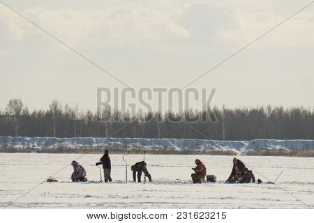 Winter Sport, Winter Fishing Fishing Outside On The Ice