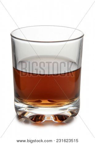 Glass with brandy and cognac on white background