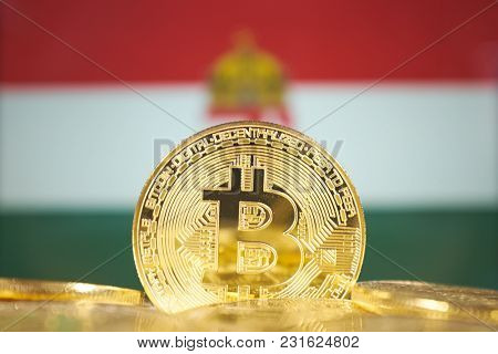 Bitcoin (new virtual money) and Hungary Flag. Conceptual image for investors