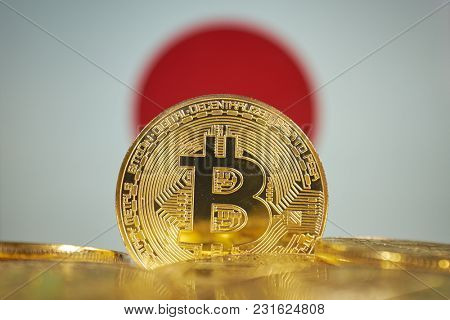 Bitcoin (new virtual money) and Japan Flag. Conceptual image for investors