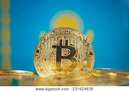 Bitcoin (new virtual money) and kazakhstan Flag. Conceptual image for investors