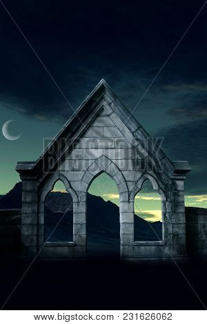 Desolate Structure In Front Of A Crescent Moon And Mountains.