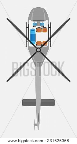 Top View Show Seat Map Of Ambulance Helicopter Vector And Illustration