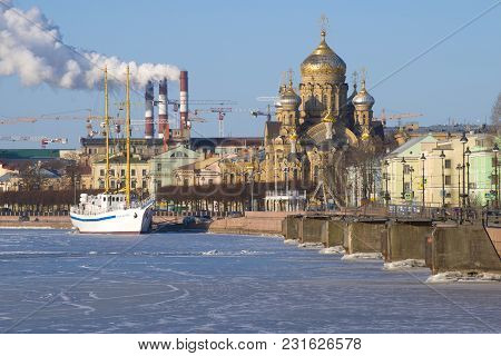 Saint Petersburg, Russia - March 16, 2018: View Of The Church Of The Assumption Of The Blessed Virgi