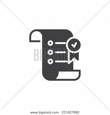 Paper Scroll With Award Ribbon Vector Icon. Filled Flat Sign For Mobile Concept And Web Design. Appr