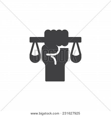 Judge's Hand Hold Weight Scales Vector Icon