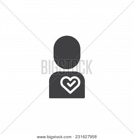 Loving Man Vector Icon. Filled Flat Sign For Mobile Concept And Web Design. Men With Heart Simple So