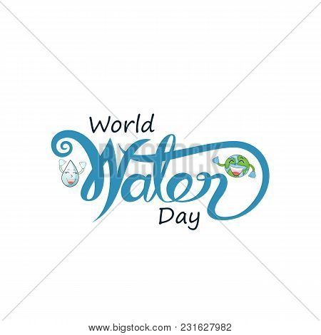 Blue World Water Day Typographical Design Elements.world Water Day Icon.minimalistic Design For Worl